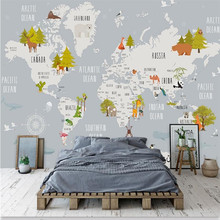 Cartoon World Map Wall Professional Making Wallpaper Mural Custom Photo