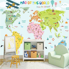 Map wallpaper bedroom for kids promotion shop for promotional map beibehang custom large mural green wallpaper cartoon world map tv bedroom backdrop papel de parede para quarto gumiabroncs Choice Image