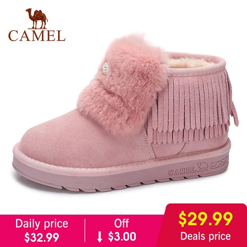 Верблюжьи зимние сапоги, женская обувь, коллекция 2018 года, Зимние новые меховые сапоги, женская обувь, милый розовый стиль, сохраняющая тепл...