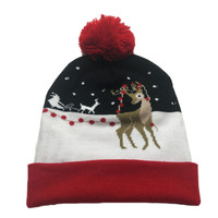 Funny Reindeer Patterned Light Up Knitted Christmas Hat For Adult Cute Men Women Winter Beanie Kawaii