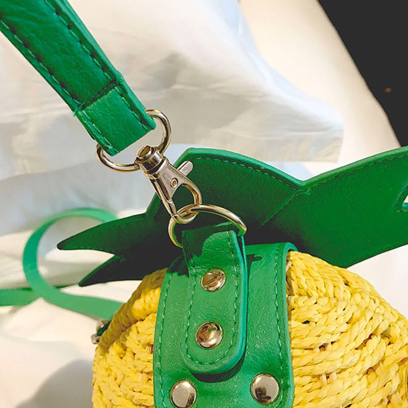 Women Pineapple Handbag Female Messenger Bags Straw Beach Crossbody Bag Lady Fashion Rattan Clutches Tote Knitted SS3010 (5)