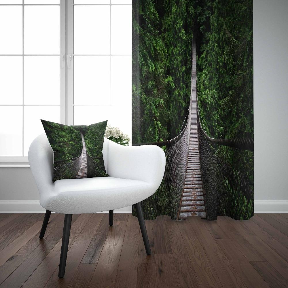 3D Jungle High Tree Blockout Photo Printing 2Panel Curtain Drapes Fabric Window