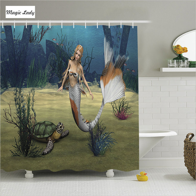 Douchegordijn Little Mermaid Badkamer Accessoires Marine Digitale ...
