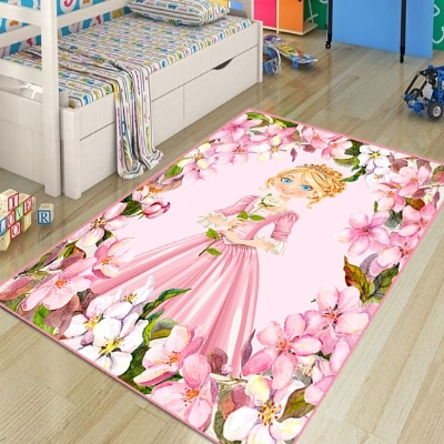 Else Pink Floral Flowers Little Princess 3d Print Non Slip Microfiber Children Kids Room Decorative Area Rug Kids  Mat