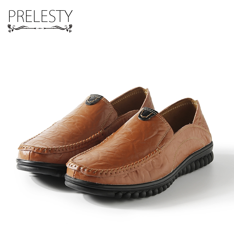 Prelesty Big Size 38-46 Genuine Leather Men Flats Shoes Handmade Men Casual Shoes Moccasins For Men Zapatos Hombre Smart pl us size 38 47 handmade genuine leather mens shoes casual men loafers fashion breathable driving shoes slip on moccasins