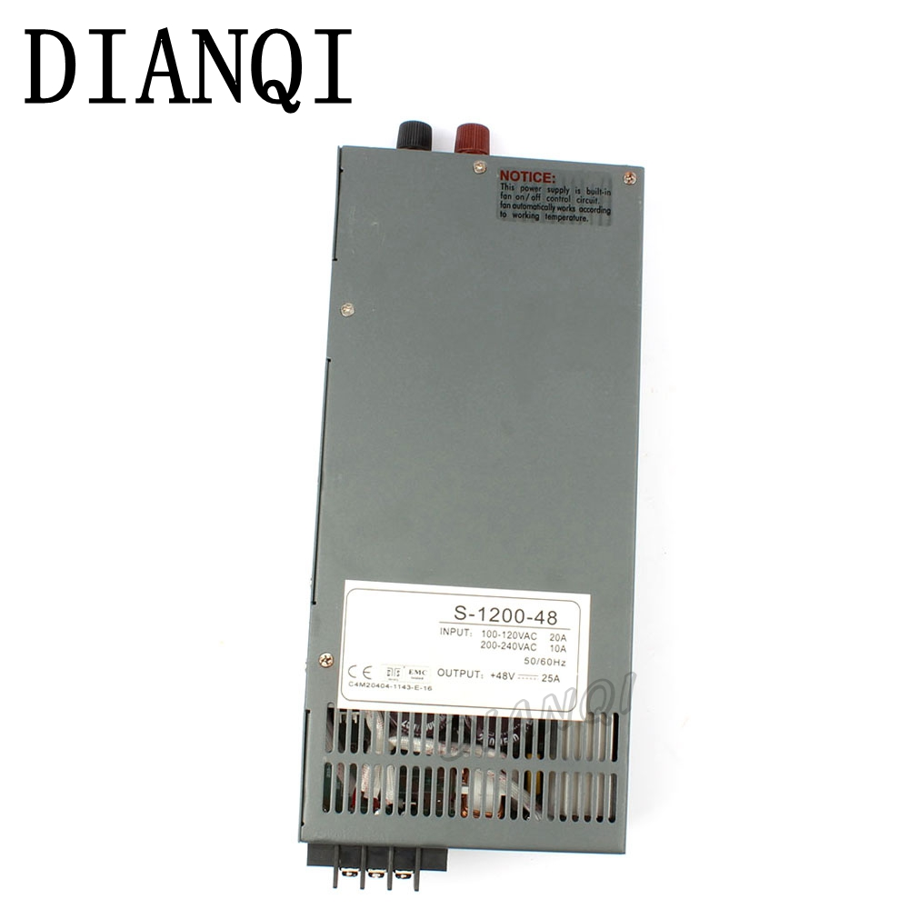 DIANQI 1200W 48V 25A Switching power supply for LED Strip light AC to DC power suply input 110v 220v 1200w ac to dc power supply best quality 12v 15a 180w switching power supply driver for led strip ac 100 240v input to dc 12v