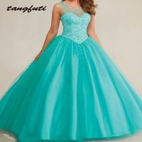 7540708aee Crystal Beaded Quinceanera Dresses 2016 Ball Gowns Elegant Cheap Tulle  Quinceanera Gown Sweet 16 Dresses Vestidos