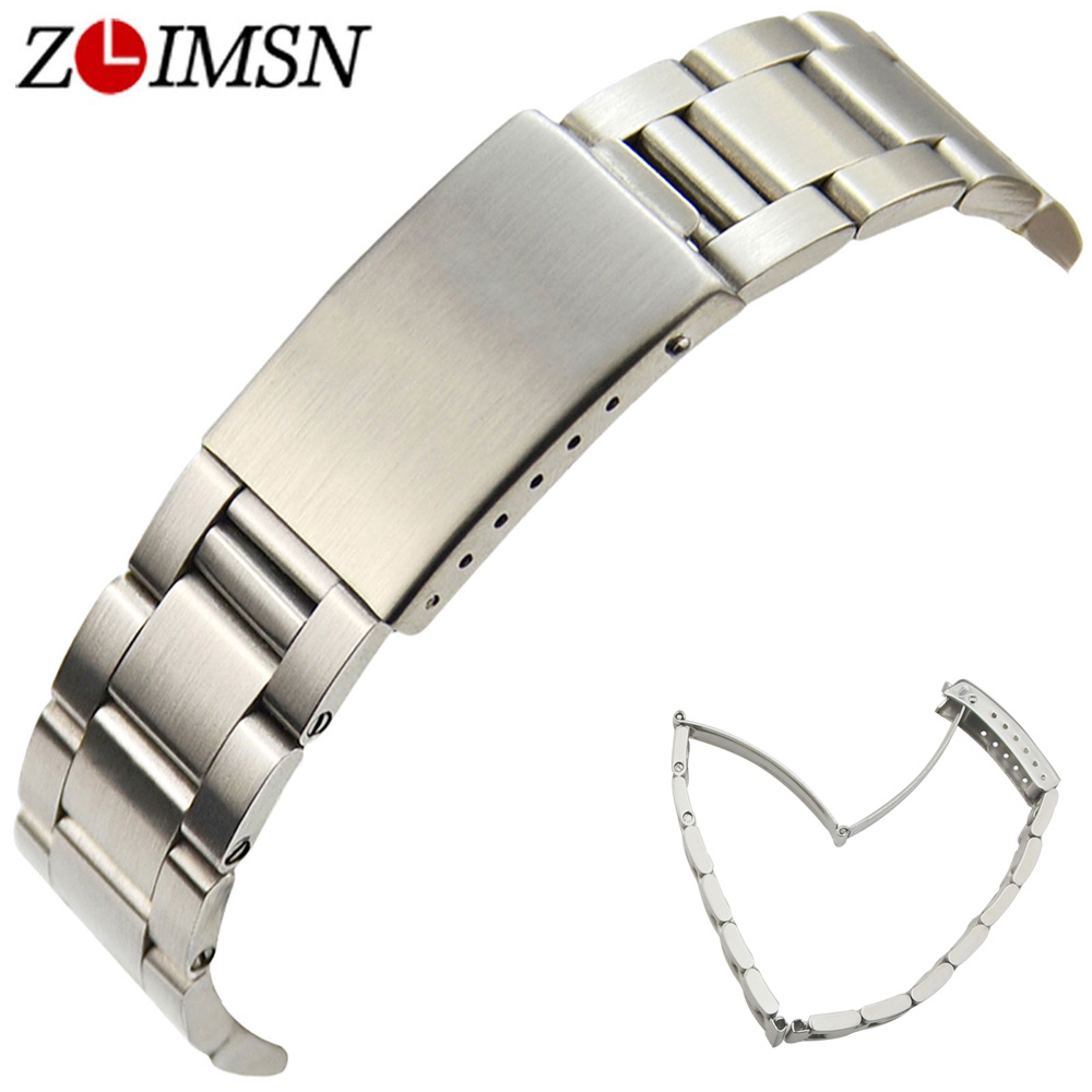 ZLIMSN 18 19 20mm 316L Stainless Steel Watch Strap Deployment Clasp Solid Links Silver Brushed Wristwatch Bracelets Replacement