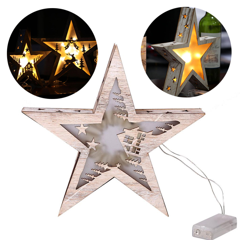 Retro Wooden Five Pointed Star Lamp Christmas Home Lighting Decorations 28CM цена 2017