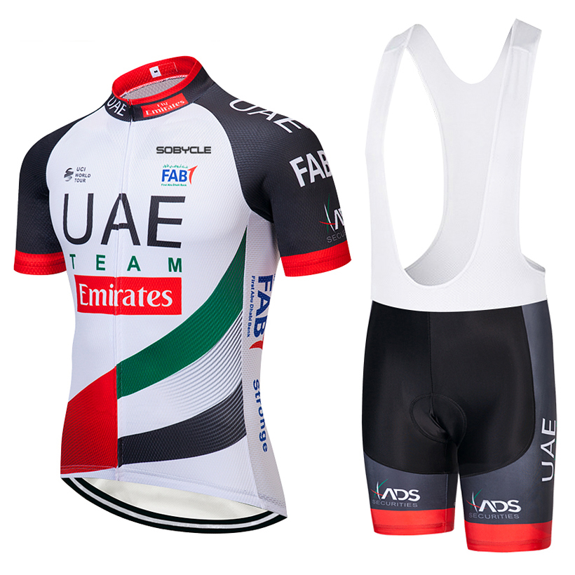 цена 2018 TEAM UAE Cycling jersey gel Pad bike shorts suit Ropa Ciclismo mens summer quick-dry PRO BICYCLING Maillot Culotte онлайн в 2017 году
