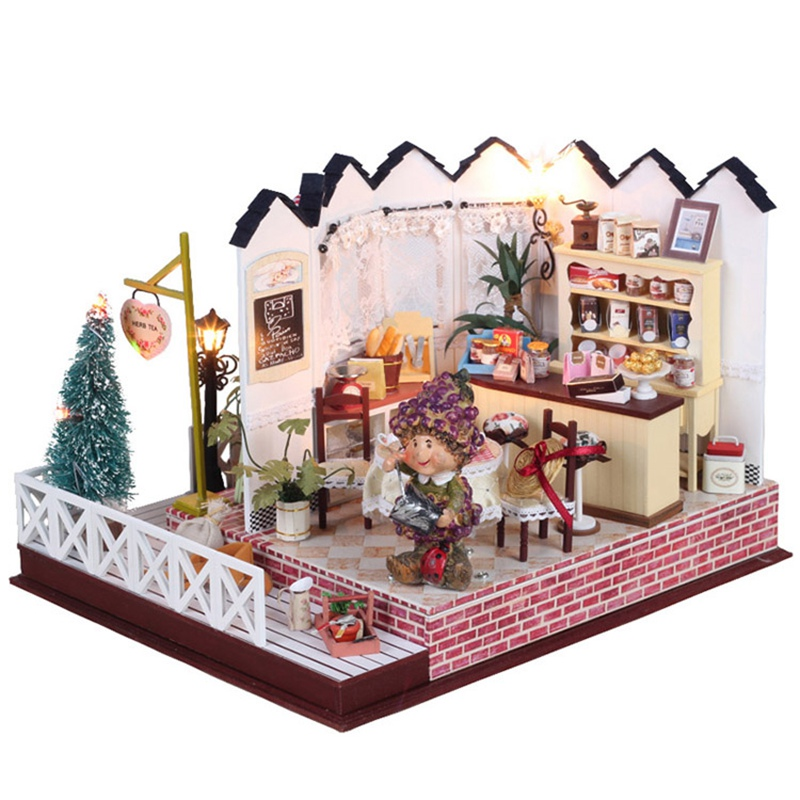 Hoomeda LY001 Herb Tea Vanilla Milk Tea House Handmake DIY Dollhouse With Music Light Cover Miniature Model Toys Gift For Girl