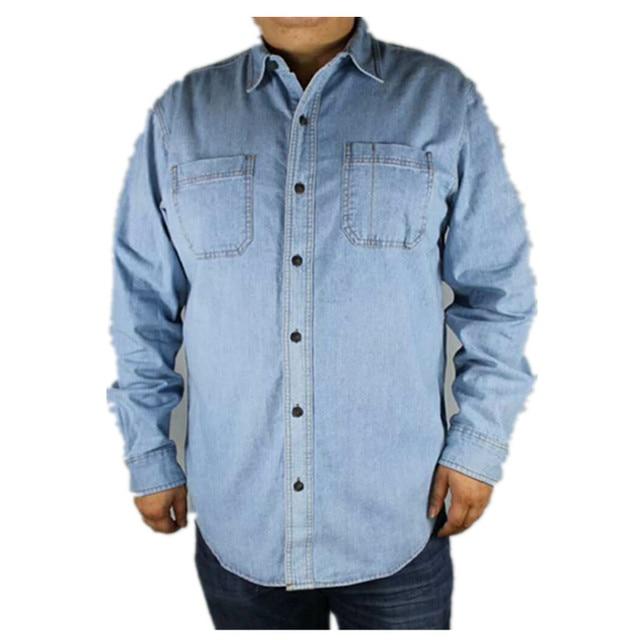 0ba548e145 Frete grátis Plus Size camisa jeans masculina verão da longo-luva de  algodão Turn-