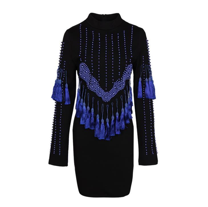 2018 noir Stand manches longues moulante femmes robe Blingbling bleu glands perles extensible Vestidos De Festa 91851