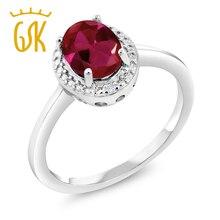 GemStoneKing 1.16 Ct Creado Rubí Rojo Oval Diamante Blanco de Piedras Preciosas Anillos de Plata de Ley 925 de Joyería Fina Para Las Mujeres