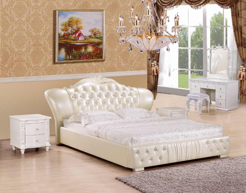 Europe and america genuine leather bed frame modern soft beds home bedroom furniture cama muebles de dormitorio camas quarto