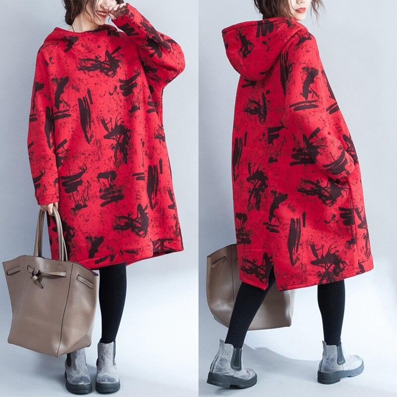 Oversize Women Hoodie Oversize Sweatshirts 2018 Autumn Winter Fashion Graffiti Print Dress Female Hoodie Oversize Sweatshirt Top