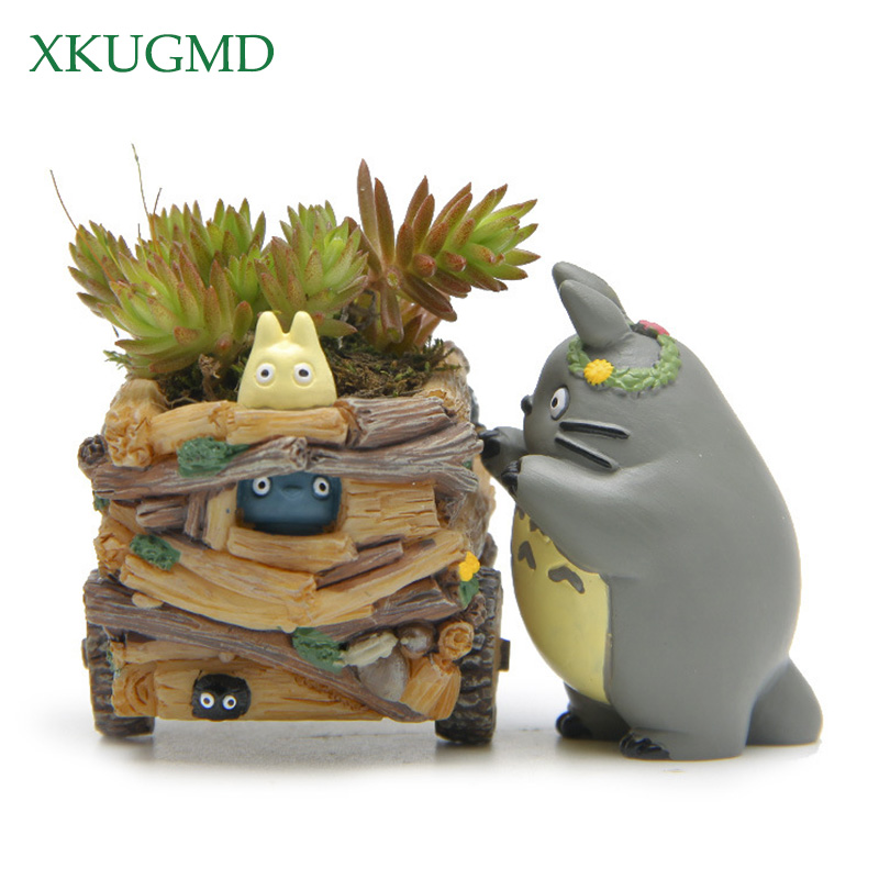 Modern Cartoon Succulent Planter Pot Resin Creative Crafts Cute Totoro Flower Pot Home Decorations Beldam Jiji Couple Cat Vase