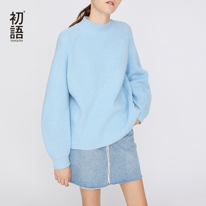 Toyouth O-Neck Solid Sweater Women Loose Casual Pullovers Long Sleeve Korean Sweaters Female Tops Autumn Jumper Sueter Mujer
