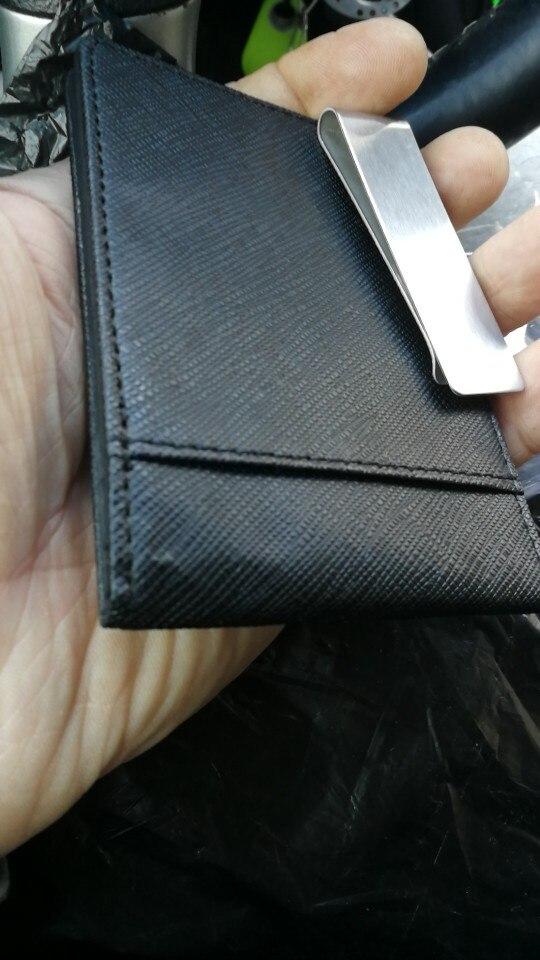 New Arrivel Men's Fashion Faux Leather Money Clip Slim Wallet ID Credit Card case photo review