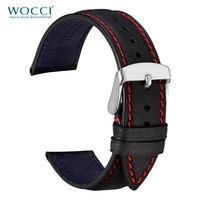 WOCCI Watch Strap Black with Red Stitching 18mm 20mm 22mm Watchband for Women Men Cowhide Watch Band Strap on Belt Bracelet
