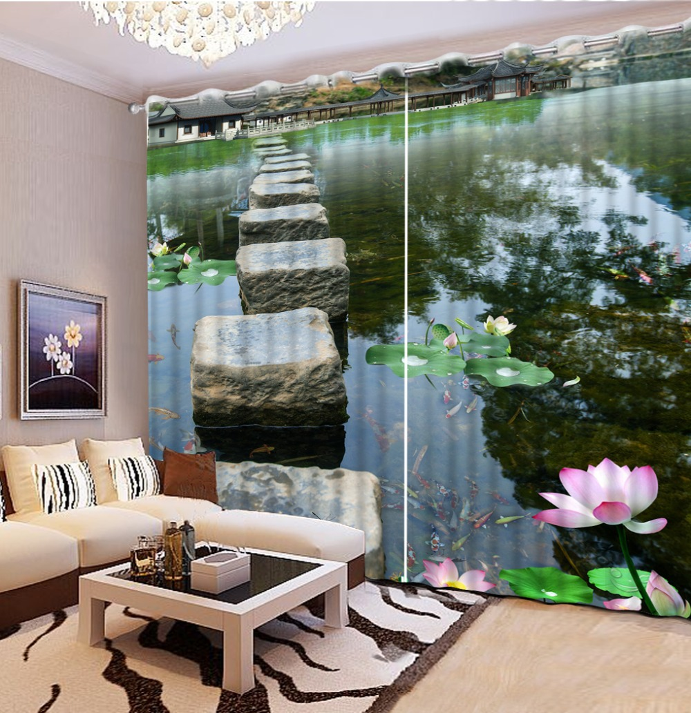 Kids modern bedroom curtains - Modern Kids Curtain Photo Paint Pond Landscape Custom 3d Curtain For Living Room Bedroom Door Curtain