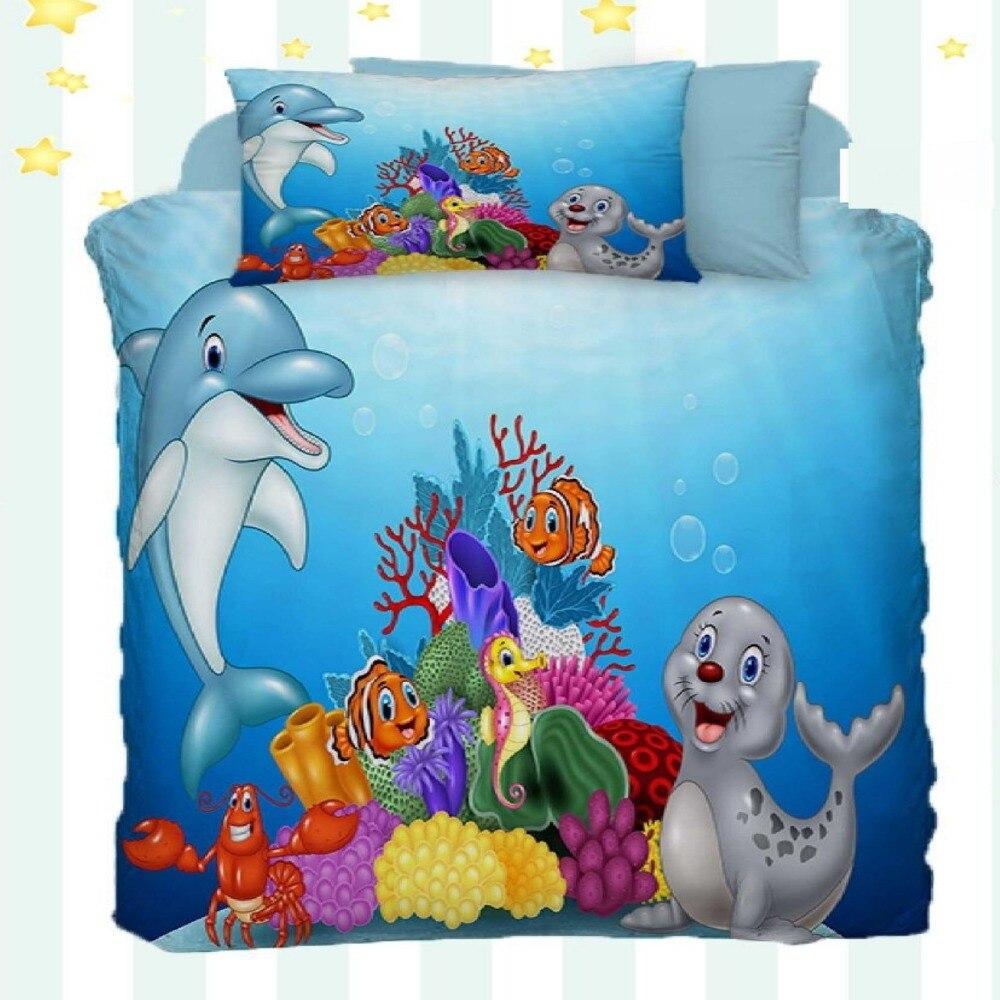 Autre 4 pièces Aquarium bleu dauphins gris phoque poissons impression 3D coton Satin bébé housse de couette ensemble de literie taie d'oreiller drap de lit