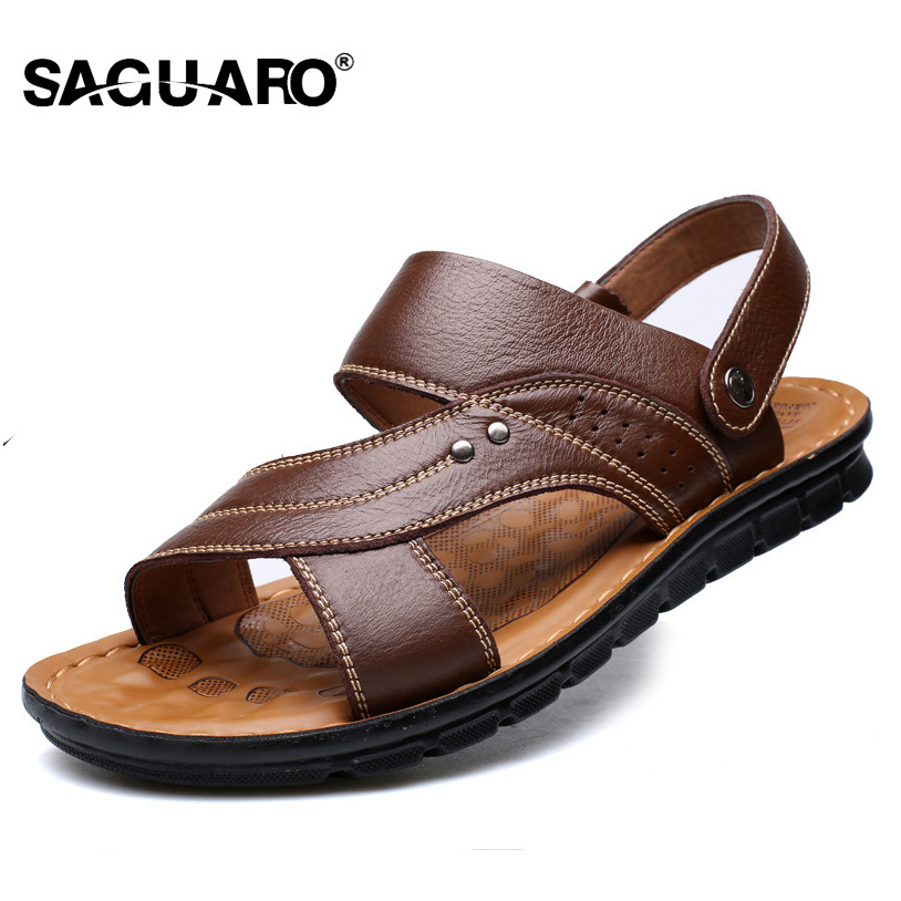 SAGUARO Summer Slippers Genuine Leather Sandals Men 2018 Fashion Beach Sandals Casual Flat Slip On Flip Flops Men Outdoor Shoes new arrival summer men sandals leisure solid waterproof male outdoors slippers pu leather fashion slip on sandals w1 35