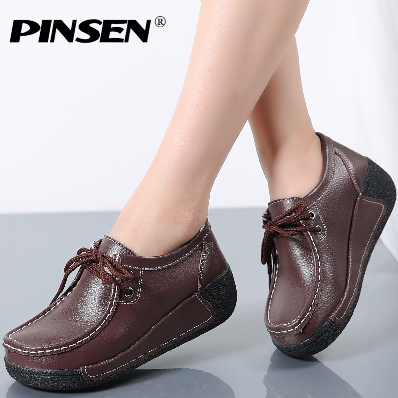 PINSEN Fashion Brand Women Flats Platform Shoes Genuine Leather Women Moccasins Creepers slipony Female Casual Shoes Moccasins