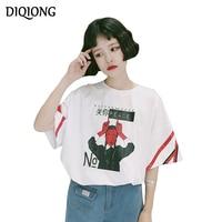 Diqiong 2017 Zomer Kleding patroon gedrukt Grote Maten O-hals Korte Mouw ulzzang harajuku Casual T-shirt Femme plus size
