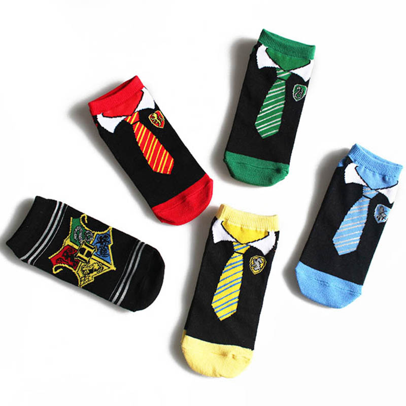 Hogwarts Emblem Socks Magician Girls Boys Socks With Gryffindor Slytherin Tie Print Ankle Socks Kids Spring Cotton Funny Socks