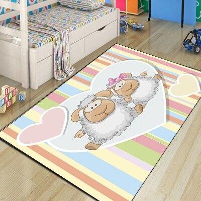 Autres lampes mignonnes Colorfull lignes rose coeur Animal 3d impression antidérapant microfibre enfants chambre décorative tapis tapis