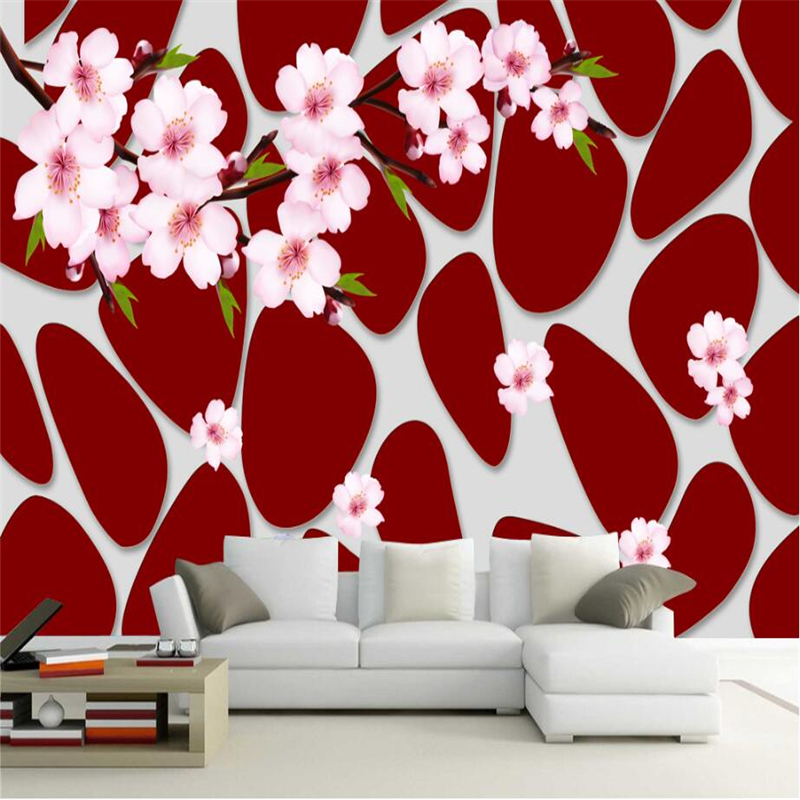 Custom 3D Wallpapers Roll Modern Wall Papers Home Decor Peach Branches WallPaper Red Stone Pattern Living Room TV Wall Wallpaper modern wallpapers for living room retro cement gray wallpaper living room cafe tv wall works 3d wallpaper roll beibehang
