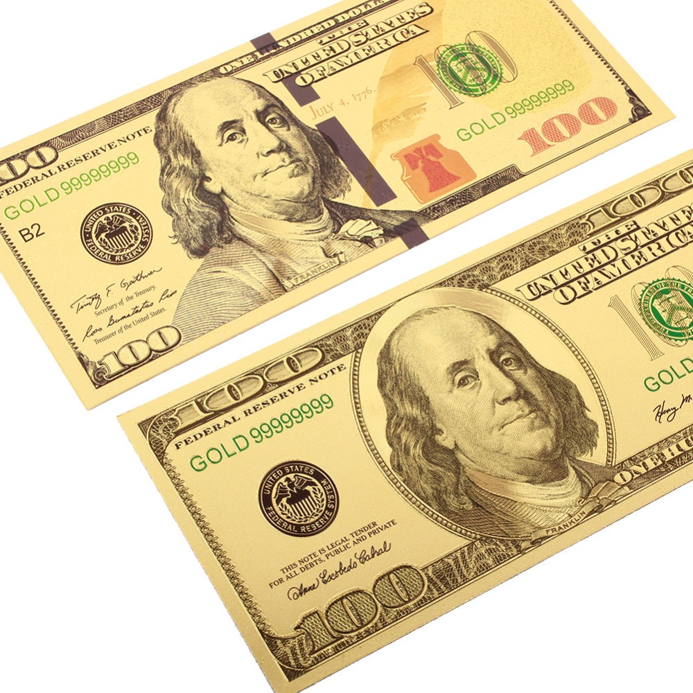2PCS/Set 100 Dollar Bills Fake Money 24K Gold Plated Dollars Banknotes Realistic Antique Plated Souvenir Collection Gifts