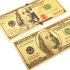 2PCS/Set 100 Dollar Bills Fake Money 24K Gold Plated Dollars Banknotes realistic Antique Plated Souvenir collection Gifts(China)