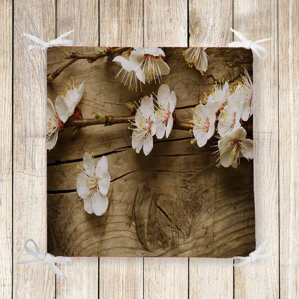Else Brown Wood On White Flowers Tree 3d Print Square Chair Pad Seat Cushion Soft Memory Foam Full Lenght Ties Non Slip Washable