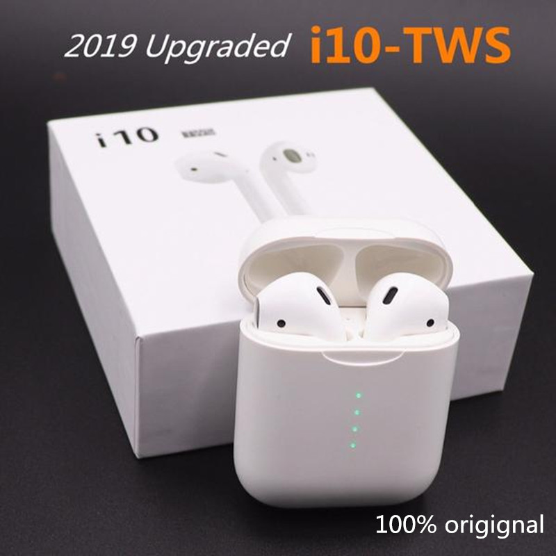 Original i10 TWS Bluetooth Earphones touch control 1 1 size With type C charger port for
