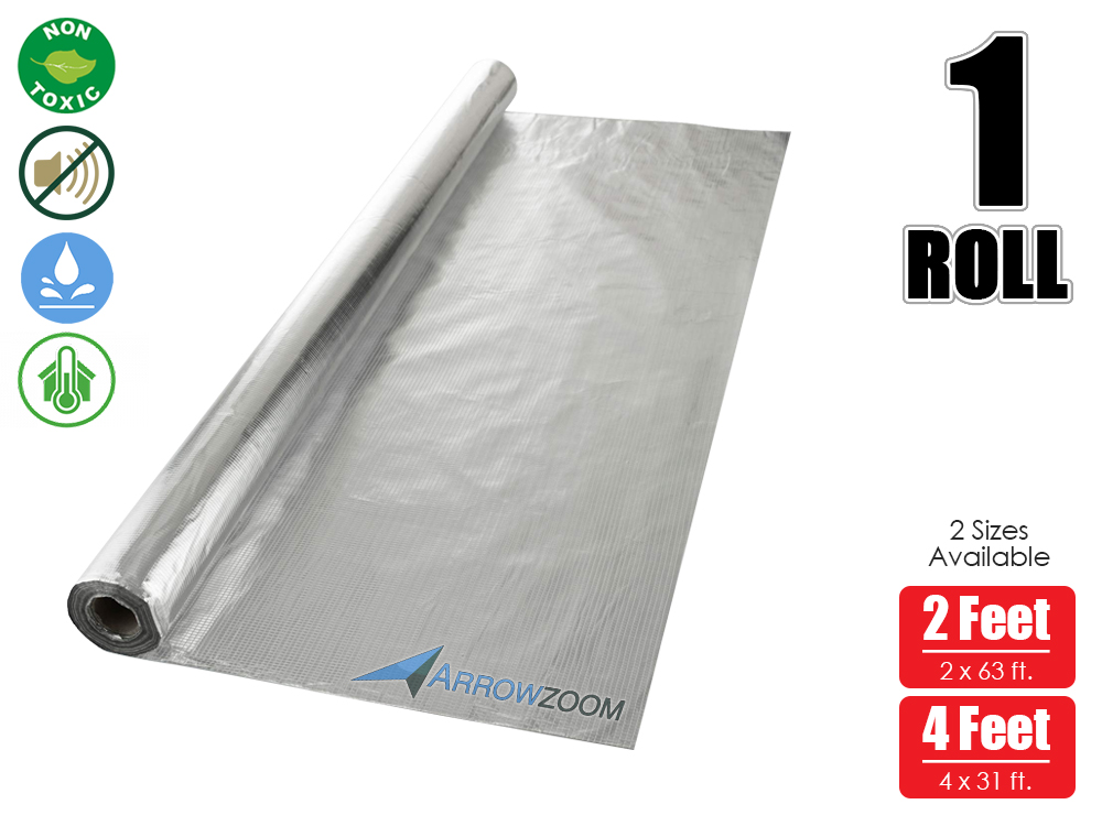 Arrowzoom 1 Roll 125 sq. ft. Solar Attic Floor Thermal Foil Reflective Radiant Insulation Barrier 2 x 63 ft / 4 x 31 ftArrowzoom 1 Roll 125 sq. ft. Solar Attic Floor Thermal Foil Reflective Radiant Insulation Barrier 2 x 63 ft / 4 x 31 ft