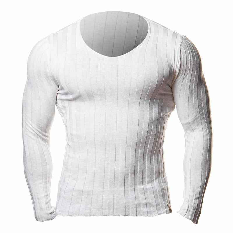 2019 冬秋メンズ長袖ニット Tシャツプラスサイズのボディービルフィットジムカジュアル Tシャツ男性プルオーバー Tシャツトップス 3XL