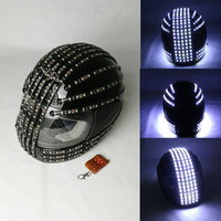White Strobe LED Helmet, LED Luminous Costumes ,Wireless Remote Control, Robot Laser Dance Performance For Robot suits