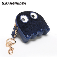 Women Cow Leather Coin Purse Sequin Cartoon Mini Handbags Tassel Sequined Chain Crossbody Bags Fringe Small Wallet Clutch Bags