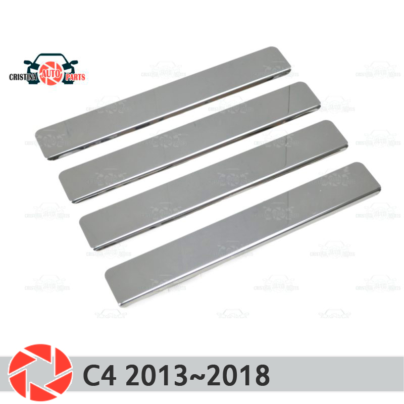 Door sills for Citroen C4 2013~2018 step plate inner trim accessories protection scuff car styling decoration clear cool custom made led door sill scuff plate guard protector trim for bmw m3