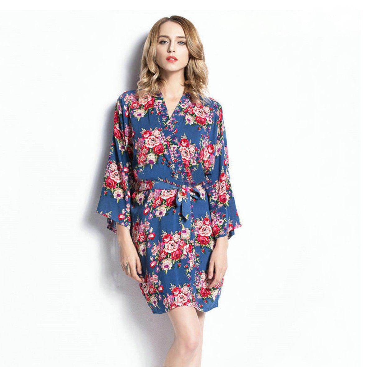 Women Ladies Cotton Short Floral Robe Dressing Gown Nightgowns ...