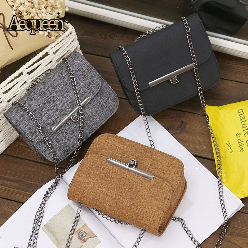Famous Brand Vintage Retro Messenger Bag Women Lock Chain Crossbody Purse Leather Ladies Small Shoulder Handbag Mini Flap Phone