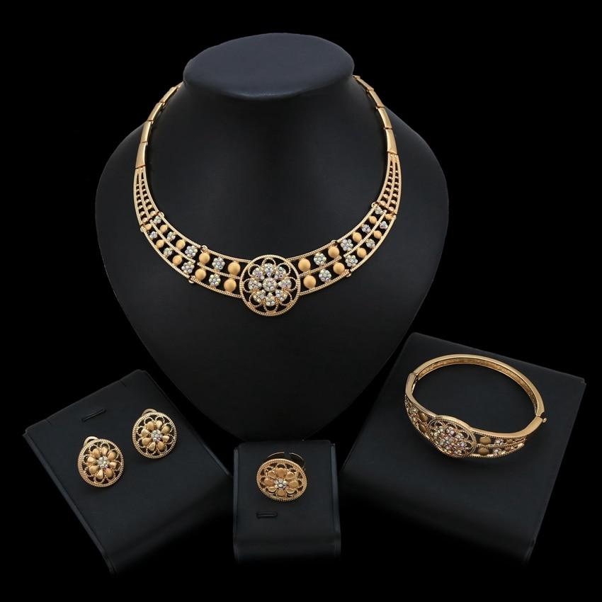 Ensembles de bijoux occidentaux de mariée en or noir lunette de mariage ensemble de collier de mariage