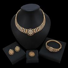 Zestaw biżuterii ślubnej dla nowożeńców z czarnego złota zestaw biżuterii ślubnej tanie tanio yulaili Ze stopu cynku Dziewczyny Kobiety Moda TRENDY Kryształ Party HD19012404 Okrągły Naszyjnik kolczyki pierścień bransoletka