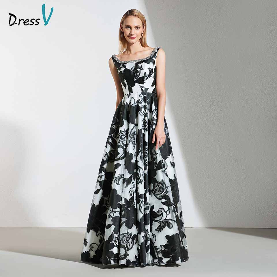 Dressv Elegant A Line Evening Dress Square Neck Beading Appliques Flower Print Wedding Party Formal Dress Evening Dresses