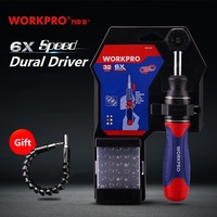 WORKPRO 6X Speed Screwdriver set 32 in 1 labor saving dual driver Screwdriver Bits Set Home Repair Tool