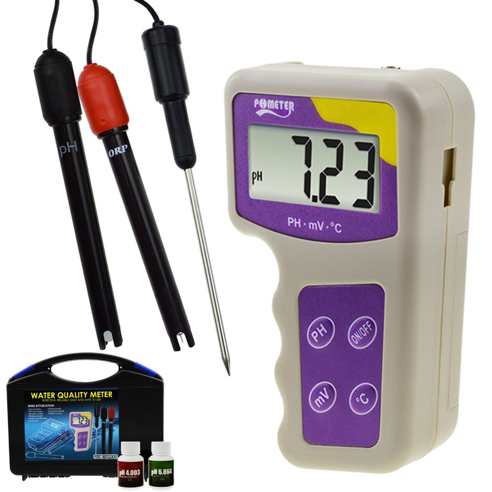 3 em 1 pH mV ORP Redox Medidor de Temperatura, para Hidropônico Aquarium Fish Tank Lagoa Piscina Spa Sal Água Doce Removível Eletrodo