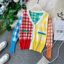 NiceMix Designer Runway Women Cardigans 2019 Autumn Plaid Sweater V-neck Coats Cardigan Knitted Rainbow  Casual Coat Loose Outwe