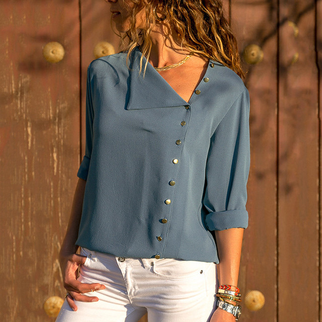 Chiffon Blouse 2018 Fashion Long Sleeve Women Blouses and Tops Skew Collar Solid Office Shirt Casual Tops Blusas Chemise Femme